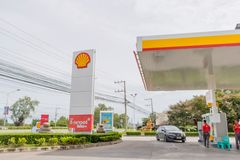 A small car is parking at oil dispener of Shell gas station in Hua Hin, Thailand September 10, 2016. The small car is parking at oil dispener of Shell gas royalty free stock images