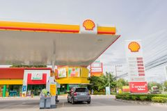 A small car is parking at oil dispener of Shell gas station in Hua Hin, Thailand September 10, 2016. The small car is parking at oil dispener of Shell gas royalty free stock photos