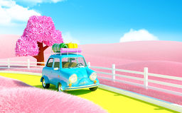 Small car in pink field. Small car on a road in pink field of neverland Royalty Free Stock Images