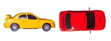 Small car toy. Small car toy isolated on white background royalty free stock photos