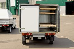 A small car wagon for transportation of bread stock photo