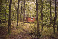 Small Caravan in Forest Stock Image