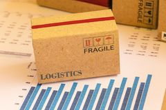 Small cardboard box with printed words for logistics. This type. Of financial charts include stacks of bar compare between the expansion of export business and Royalty Free Stock Image