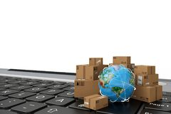 On line shipment. 3D Rendering. Small cardboard boxes and globe on a computer keyboard. 3D Rendering stock illustration