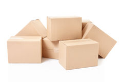 Small cardboard boxes Stock Photo