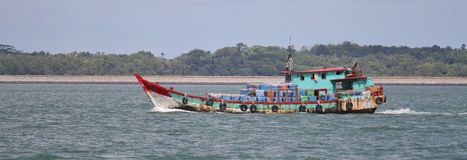 Panorama of a small boat Stock Photos