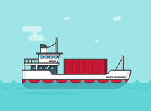 Small cargo ship floating on ocean vector illustration, flat cartoon shipping freighter boat on sea waves carrying cargo Royalty Free Stock Photos