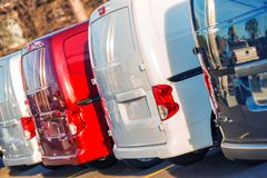 Small Cargo Trucks Fleet. Small Cargo Trucks Business Fleet. Cargo Cars in a Row. Distribution, Shipping and Logistic Business stock photography
