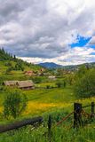 Small Carpathian settlement is located between the Royalty Free Stock Photos