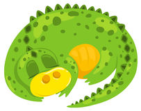 Small cartoon dragon sleep. Stock Photography