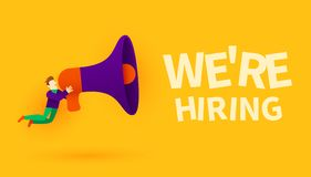 Small cartoon man with megaphone. We are hiring. Employer concept. Vector illustration vector illustration