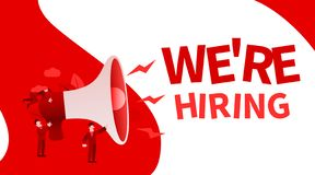 Small cartoon people with megaphone banner. We are hiring. Employer concept. Vector illustration stock illustration