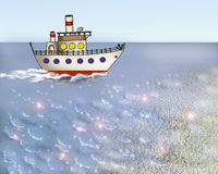 Small Cartoon Ship in the Calm Ocean. Small Cartoon Ship in the Calm Sea or Ocean. Digital Painting Background, Illustration in cartoon style character stock illustration