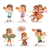 Small cartoon vector kids playing pilot aviation. Kids dreaming concept. Childhood vector kids playing games. Cartoon boys and girls like pilots. Plane, kids Royalty Free Stock Photo