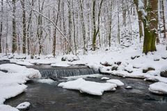 Small cascade on the forest creek in winter stock photo