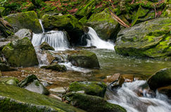 Small cascade on the river among bouders in forest. Small cascades on the forest river among huge boulders covered with moss. Fresch and clean nature environment Royalty Free Stock Photos