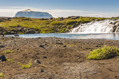 Small cascade and river on route F88 to Askja - Ic Royalty Free Stock Images