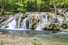 Small cascade on the river Royalty Free Stock Photo