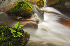 Small cascade on the river Wharfe. Near Bolton Abbey in North Yorkshire, UK Stock Image