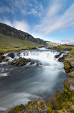 Small Cascades In Iceland. Serene scene with small cascades over a blue sky. Typical Iceland landscape Royalty Free Stock Photos