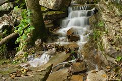 Small Cascading Waterfall - 2. A small cascading waterfall at Roaring Run Waterfall located the mountains of the Jefferson National Forest, Botetourt County stock photos