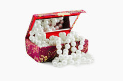 Small Casket with  pearls Royalty Free Stock Images