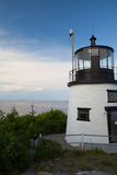 Small Castle Hill lighthouse in Newport, Rhode Island, USA Stock Photo