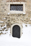 Small castle iron door. Royalty Free Stock Photos