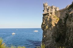 Castle over the sea. Small Castle Lastochkino Nest and its surroundings stock photos