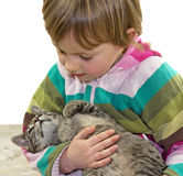 Small cat laying in the arms of a child. Small cat laying in the arms of a child, the two girls enjoy to be together Stock Photography