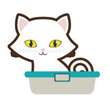 Small cat sitting yellow eyes bathtub Royalty Free Stock Photos