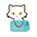 Small cat yellow eyes blue pet carrier bag travel. Illustration eps 10 Stock Photos