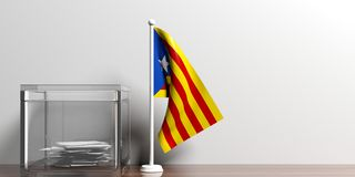 Catalonia flag next to a glass ballot box on wooden surface. 3d illustration. A small Catalonia flag with bright colours next to a glass ballot box on a wooden Royalty Free Stock Photo