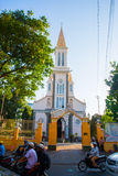 A small Catholic Church which is located near the road in the capital of Vietnam. Stock Photo