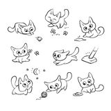 Small cats different emotions and situations. Kitty play with ball walking in nature hunting for mouse and run away from. Broom. Vector humor black white Royalty Free Stock Photography