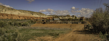 Small cattle Farm in panorama view Stock Image
