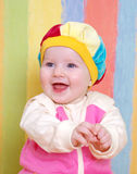 Small caucasian girl infant is dared. Royalty Free Stock Photography