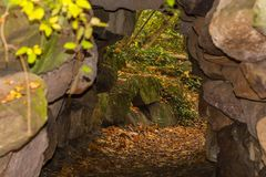 Small cave in crevice of rock in crimean mountains Royalty Free Stock Images