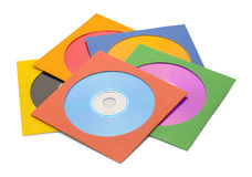 Small CD Pile. FIve CDs in Case in Pile Isolated on a White Background Royalty Free Stock Photo