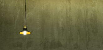Small Ceiling Lamp on Cement wall with copy space Royalty Free Stock Image