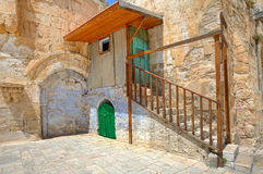 Small cell of coptic church in Jerusalem, Israel. Stock Photos