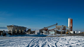 Small Cement Factory in winter Stock Photo
