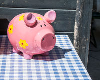 Small ceramic pink piggy bank Royalty Free Stock Image