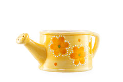 Small ceramic watering can. Close up of small ceramic watering can over white Stock Photography