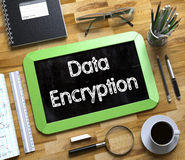 Small Chalkboard with Data Encryption. 3D. Stock Image