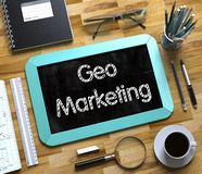 Small Chalkboard with Geo Marketing. 3D Render. vector illustration