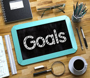 Small Chalkboard with Goals. 3D. Stock Photo