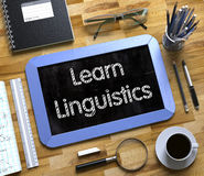 Small Chalkboard with Learn Linguistics Concept. 3D. Royalty Free Stock Images