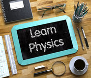 Small Chalkboard with Learn Physics Concept. 3D Stock Images