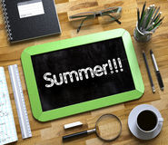 Small Chalkboard with Summer Concept. 3D. Stock Images